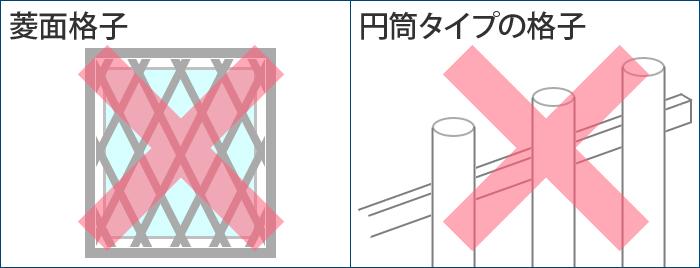 マドミランが取り付けられない格子窓