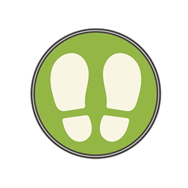 フロア誘導シール SR027〈足型/緑〉
