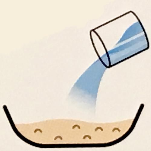 残りの水を混ぜる