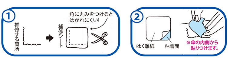 傘布の修理方法