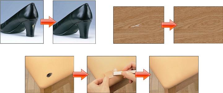 革靴・フローリング・レザーの椅子補修例