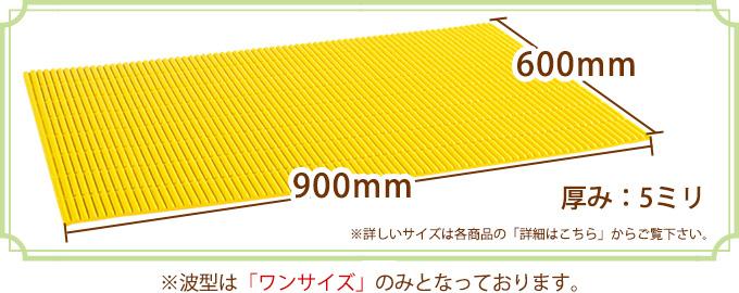 縦:400ミリ、横600ミリ、厚み:6ミリ(詳しいサイズは各商品の「詳細はこちら」からご覧下さい。)※波型はワンサイズのみとなっております。