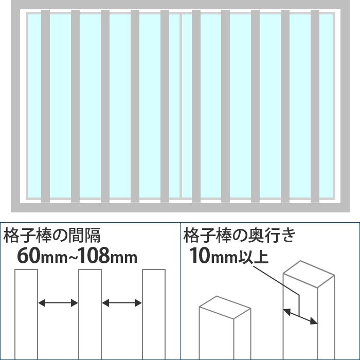 格子が縦についている、格子棒の奥行き 10mm以上、格子棒の間隔 60mm~108mm