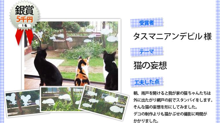 銀賞1名(5千円)・受賞者「タスマニアンデビル様」・テーマ「猫の妄想」・工夫した点「朝、雨戸を開けると我が家の猫ちゃんたちは外に出たがり網戸の前でスタンバイをします。そんな猫の妄想を形にしてみました。デコの製作よりも猫かぶせの撮影に時間がかかりました。」