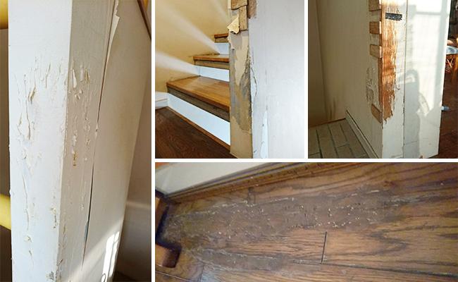 ボロボロの柱や床