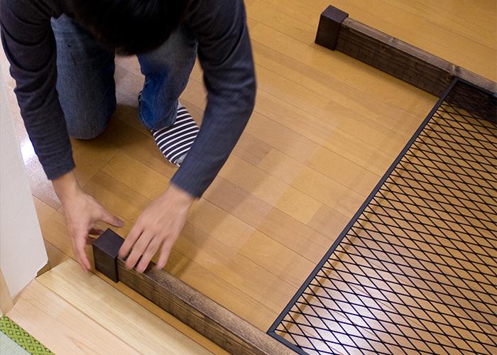 突っ張りパーツを木材に付ける
